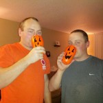Juston and Joe enjoying pumpkin keg