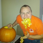 Juston eating pumpkin guts